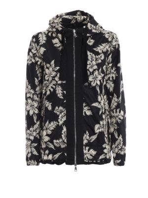 Moncler: casual jackets - Morion floral print hooded jacket