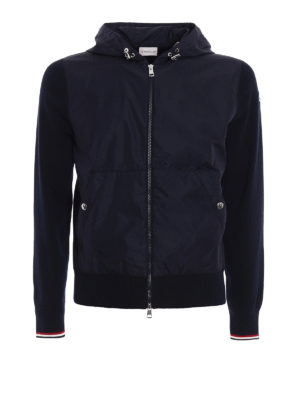 Moncler: casual jackets - Nylon panelled knit cotton jacket