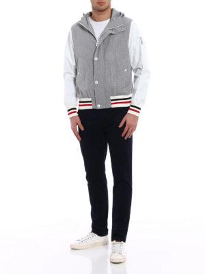 Moncler: casual jackets online - Grey seersucker cotton windbreaker