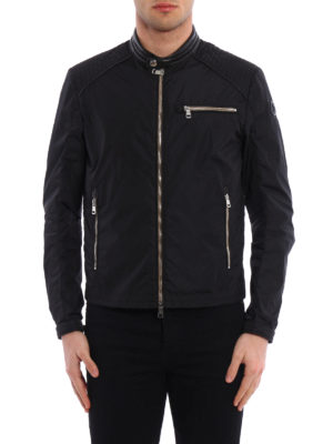 Moncler: casual jackets online - Mercure leather detail biker jacket