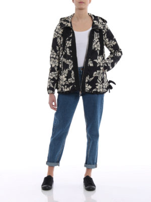 Moncler: casual jackets online - Morion floral print hooded jacket