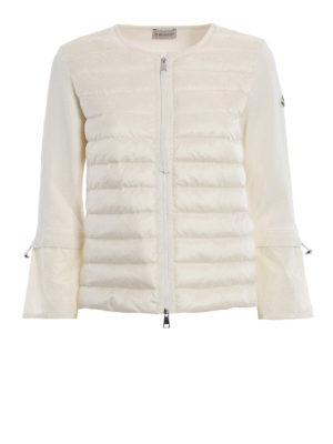 Moncler: casual jackets - White padded nylon tricot jacket
