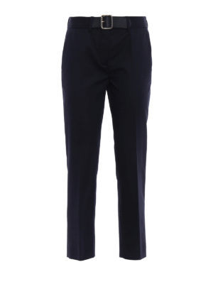 Moncler: casual trousers - Belted cigarette trousers