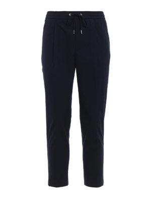 Moncler: casual trousers - Blue gabardine sport slacks