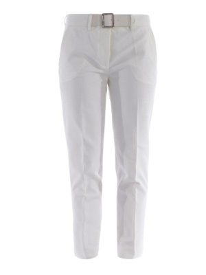 Moncler: casual trousers - Cropped stretch cotton trousers