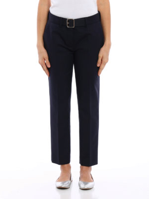 Moncler: casual trousers online - Belted cigarette trousers