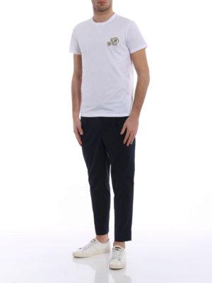 Moncler: casual trousers online - Blue gabardine sport slacks