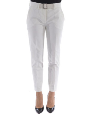 Moncler: casual trousers online - Cropped stretch cotton trousers