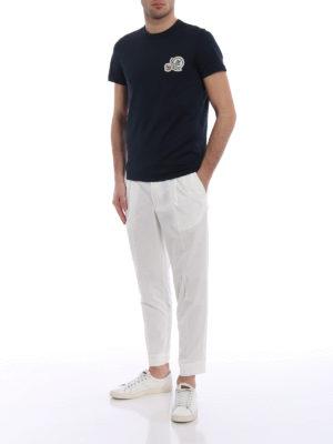 Moncler: casual trousers online - White gabardine sport slacks