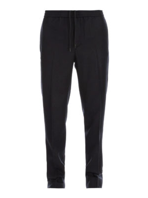 MONCLER: pantaloni casual - Pantaloni in lana stretch con coulisse