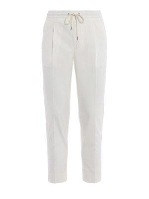Moncler: casual trousers - White gabardine sport slacks