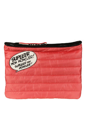 Moncler: clutches - Supeeer Mon Moncler red nylon pouch