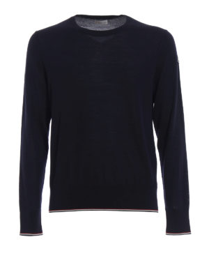Moncler: crew necks - Contrasting edges wool crew neck