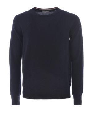 Moncler: crew necks - Dark blue wool crew neck sweater