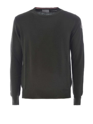 Moncler: crew necks - Dark green wool crew neck sweater