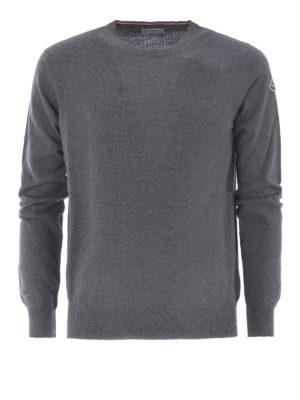 Moncler: crew necks - Grey wool crew neck sweater