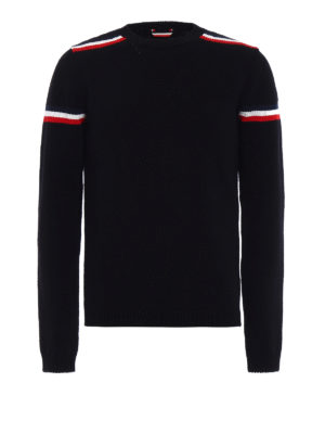 Moncler: crew necks - Iconic colour stripes wool crewneck