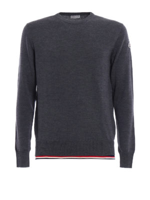 Moncler: crew necks - Iconic Moncler trim wool crewneck