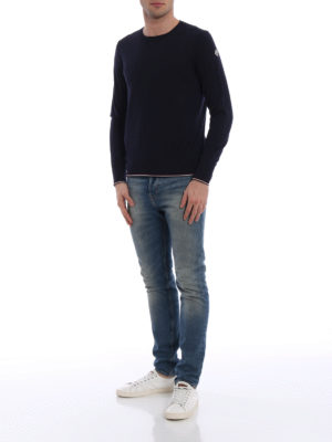 Moncler: crew necks online - Contrasting edges wool crew neck