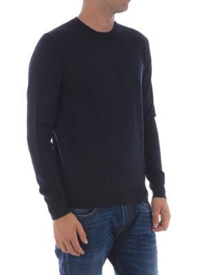 Moncler: crew necks online - Dark blue wool crew neck sweater
