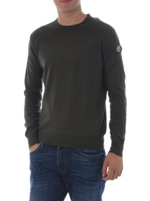 Moncler: crew necks online - Dark green wool crew neck sweater
