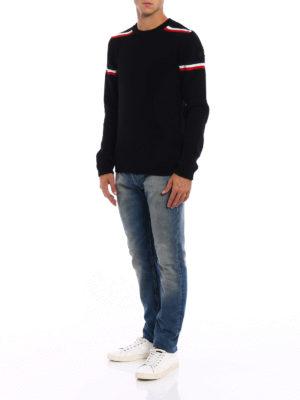 Moncler: crew necks online - Iconic colour stripes wool crewneck