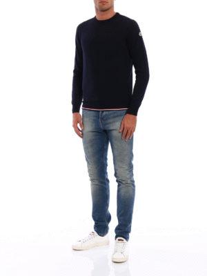 Moncler: crew necks online - Iconic Moncler trim wool crewneck