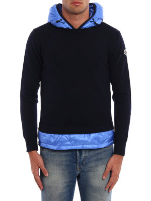 Moncler: crew necks online - Padded nylon inserts wool hoodie