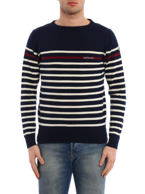 Moncler: crew necks online - Striped cotton crew neck sweater