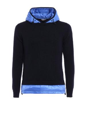 Moncler: crew necks - Padded nylon inserts wool hoodie