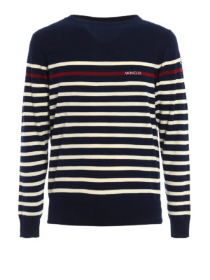Moncler: crew necks - Striped cotton crew neck sweater