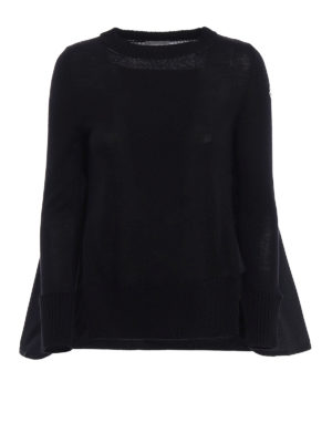 Moncler: crew necks - Wool and techno fabric sweater