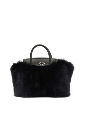 Moncler: cross body bags - Evera fur and leather handbag