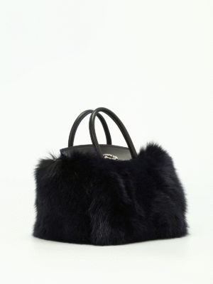 Moncler: cross body bags online - Evera fur and leather handbag