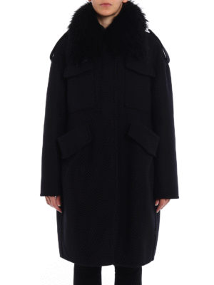 Moncler: Fur & Shearling Coats online - Phillirea fur collar wool coat