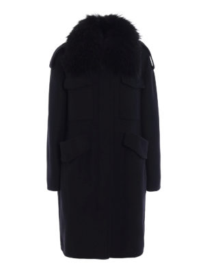Moncler: Fur & Shearling Coats - Phillirea fur collar wool coat
