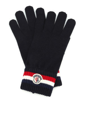 Moncler: gloves - Logo knitted wool gloves