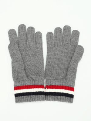 Moncler: gloves online - Logo knitted wool gloves