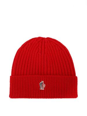 MONCLER GRENOBLE: berretti - Berretto rosso in lana a coste Après-ski