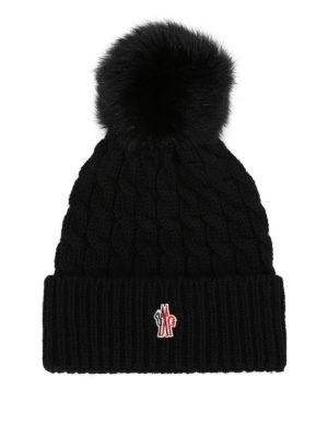 MONCLER GRENOBLE: berretti - Berretto lana a trecce nero con pelliccia