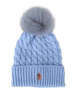 MONCLER GRENOBLE: berretti - Berretto lana a trecce celeste con pelliccia
