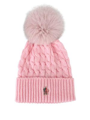 MONCLER GRENOBLE: berretti - Berretto in lana a trecce rosa con pelliccia