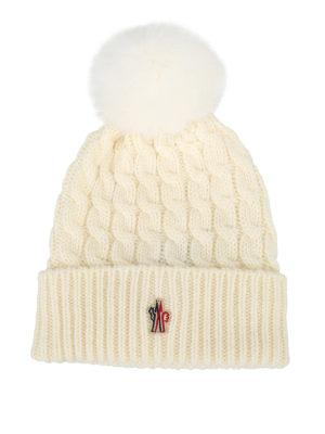 MONCLER GRENOBLE: berretti - Berretto lana a trecce bianco con pelliccia
