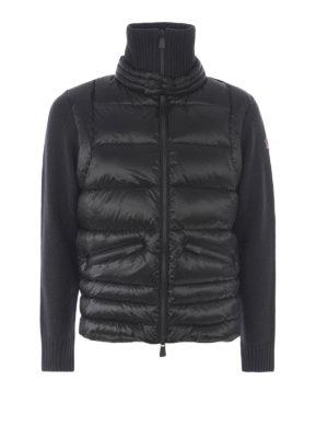MONCLER GRENOBLE: cardigan - Cardigan in lana con pannelli imbottiti