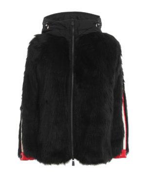 MONCLER GRENOBLE: Fur & Shearling Coats - Black faux fur jacket