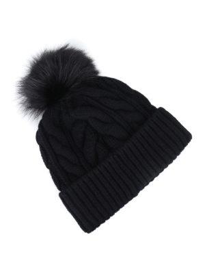 MONCLER GRENOBLE: berretti online - Berretto in misto cashmere con pelliccia
