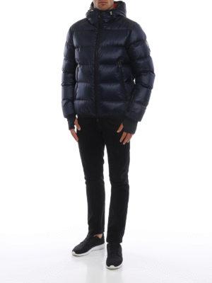 MONCLER GRENOBLE: giacche imbottite online - Piumino blu scuro con cappuccio Interthux