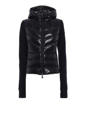 Moncler Grenoble: Sweatshirts & Sweaters - Black pile padded panelled hoodie