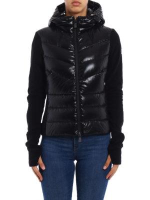Moncler Grenoble: Sweatshirts & Sweaters online - Black pile padded panelled hoodie