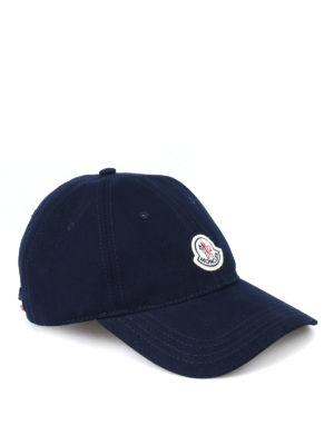 Moncler: hats & caps - Blue soft cotton baseball cap